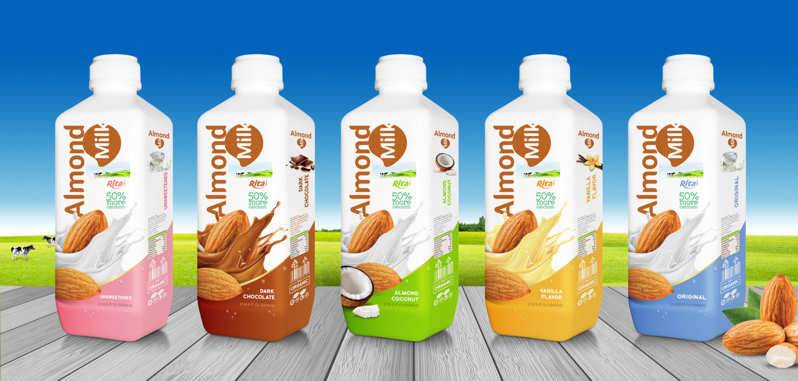 Almond milk with coconut 1000 ml PP bottle