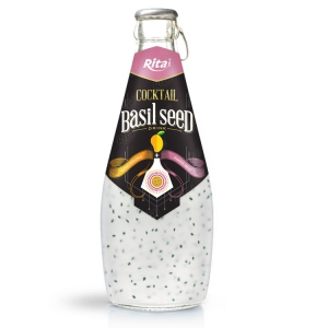 Cocktail flavor mango + passion with basil seed 290ml glass bottle